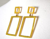 80's Geometric Yellow Earrings