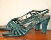 Vintage Amalfi by Rangoni Strappy High Heel Sandals - Green Suede