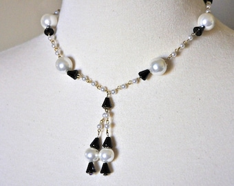 "Vintage Vendome Necklace - Black and White ""Y"" Necklace"