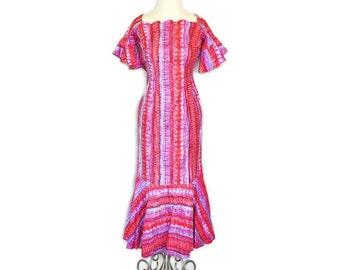 Vintage Hawaiian Dress - 1950's Designer Pink Dress