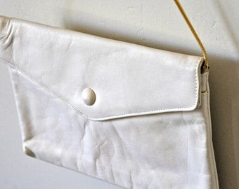 Vintage Ivory Leather Handbag - Slim
