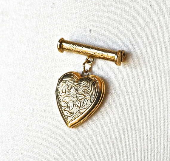 Gold Vintage Locket Brooch - Carved Heart