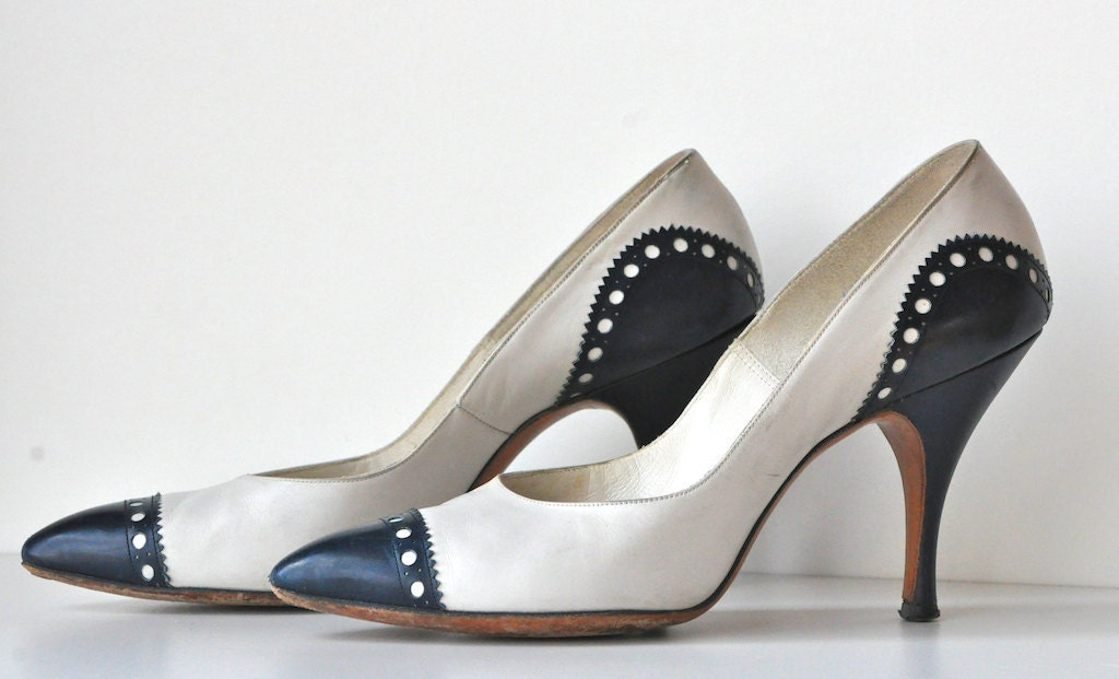 Vintage Navy And White Spectator Pumps By Marquise