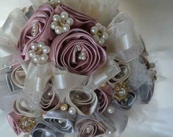 Wedding Bouquet Multi-Colored Satin Flowers with Pearls and Crystals