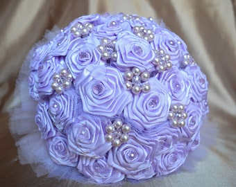 Wedding Bouquet Purple with Pearls and Crystals - REDUCED
