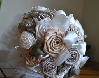 Wedding Bouquet Satin Multiple Colored Flowers - REDUCED