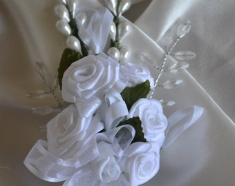 Wedding Men's Boutonniere Satin flowers with pearls