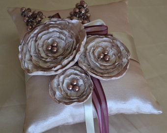 Wedding Ring Pillow Light Brown Ivory Satin with Pearls