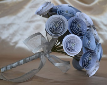 Wedding Bridal Paper Bouquet, Soft and Cool Blue