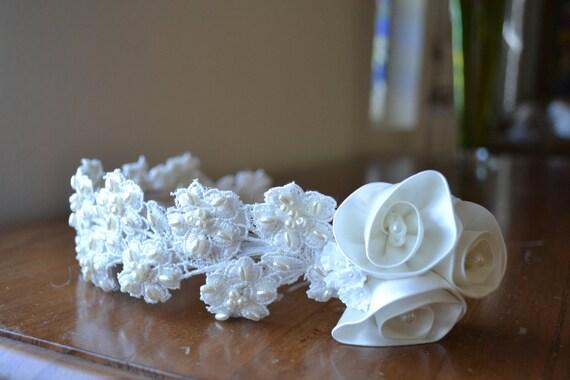 Wedding Bridal Headpiece Off White Satin Flowers Pearls Crown Head Piece