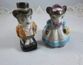 Vintage Mr. and Mrs. Mouse Salt & Pepper Shakers - Made in England by Artone