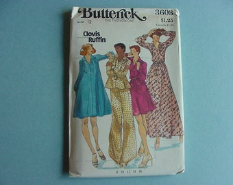 1970s Butterick Pattern 3603 Misses Loose Fitting Flared Dress,Skirt,Pants Size 12 Bust 34 Clovis Ruffin