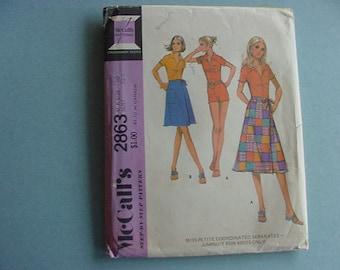 Vintage UNCUT 1970s McCall's Pattern 2863 Misses Jumpsuit & Wrap Skirt Size 10 Bust 32 1/2