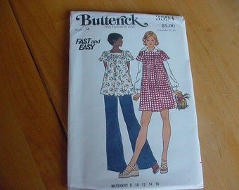 1970s Butterick Pattern 3594 Misses' Loose Fitting, Flared Dress, Top, Pants, Maternity Size 14  Bust 36  Uncut