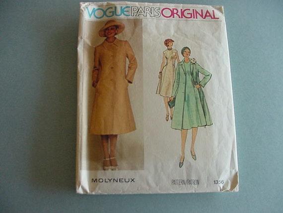 1970s Vogue Pattern 1356 Paris Original Misses Semi-Fitted Flared Dress, Coat Size 12 Bust 34 Molyneux Designer