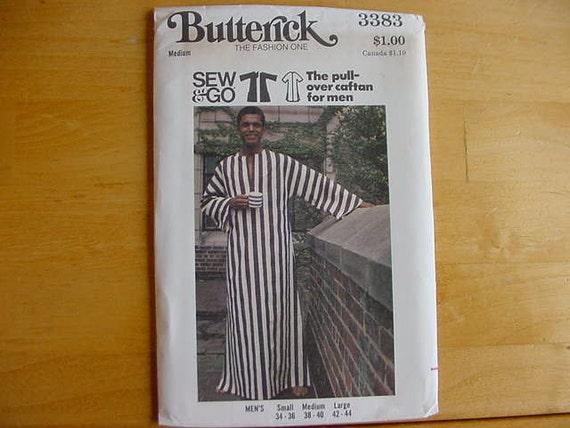 VINTAGE 1970s Butterick Pattern 3383 Men's Loose-fitting Pull-over Caftan  Size Medium 38-40  Uncut