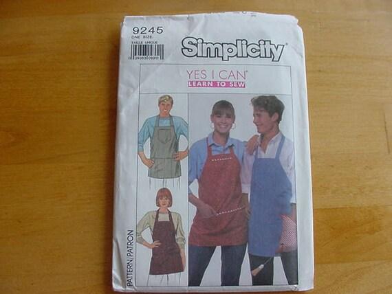Vintage 1980s Simplicity Pattern 9245, One Size Apron, UNCUT