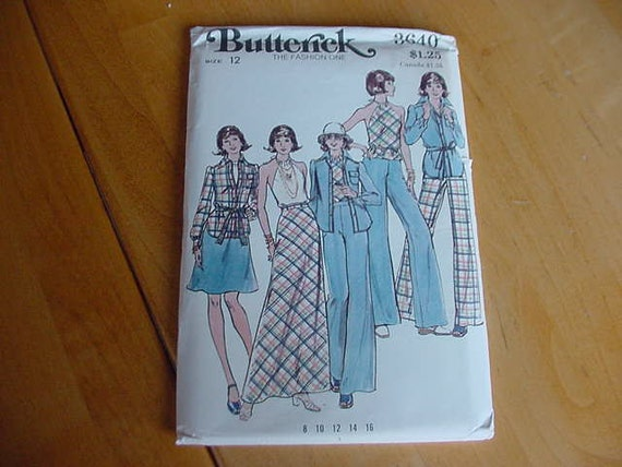 1970s Butterick Pattern 3640 Misses Semi-Fitted Shirt, Halter Top, Flared Skirt & Pants Size 12 Bust 34 Uncut