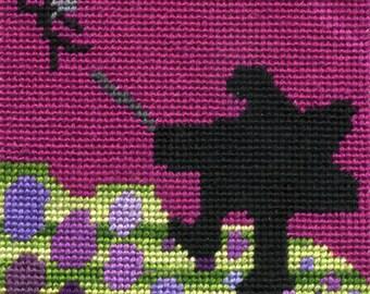 Silhouette Art, Kids Room Decor, Fairy Tale Art, Children's Art, Framed Needlepoint