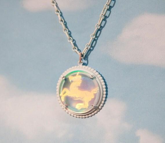 Hologram Unicorn Pendant White Necklace
