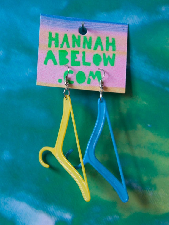 Plastic Toy Doll Coat Hanger Yellow and Blue Earrings
