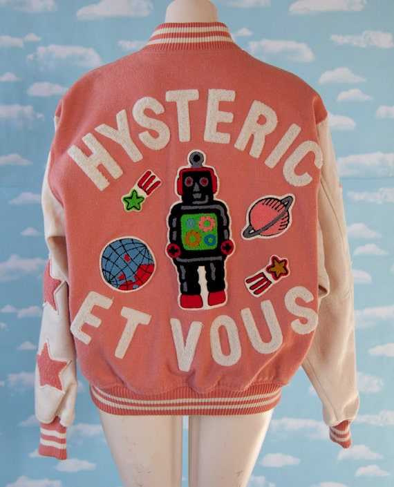 AMAZING Hysteric Et Vous Pink and White Robot Planet Letterman Jacket size L
