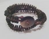 Free Shipping.. OOAK..boho. ,Leather ring  beaded long bracelet,