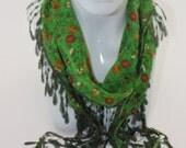 Autumn scarf,Turkish yemeni,  Green floral printed cotton scarf