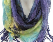 Fashion scarf, Trends scarf, Winter scarf,Turkish yemeni, Purple  multicolor triangle butterfly patterned scarf