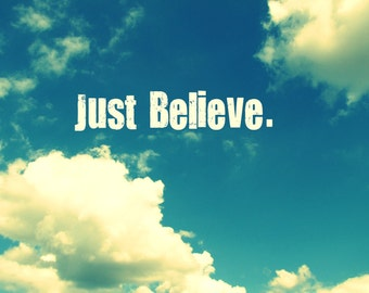Just Believe, Postcard, Inspirational Card, Postcards, Wholesale Available, Encouragement Card, Just Believe Card, Sky and Clouds Art