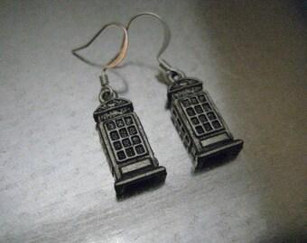 UK Phone Booth Earrings, ski fi earrings, geekery gift, gift for her, girlfriend gift, best friend gift, blue phone booth earrings
