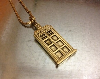 UK Police Phone Booth Gold Plated Interpreted Charmed Necklace