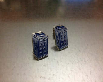 UK Phone Booth Blue Earrings