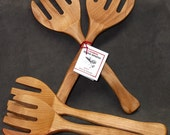 birch Moose Spoons / wooden Salad servers / salad tongs / handmade / wedding gift / christmas gift