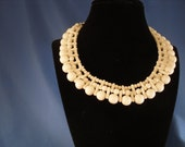 Vintage white choker beaded necklace (N18)