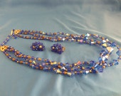 Blue and gold Rhinestone necklace and clip earring set. (N43)