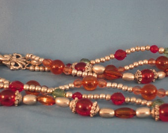 Vintage three standed silver,red,amber,green beads beautiful Clasp Necklace. (N22)