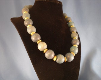 Vintage Wooded beaded  blue and gold necklace (N19)