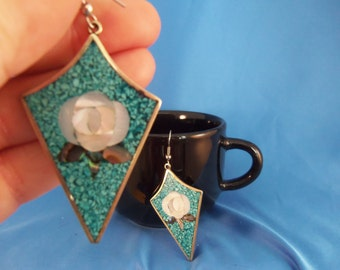 Albaca Mexico Torqouise white shell flower pierced earrings. (P35)