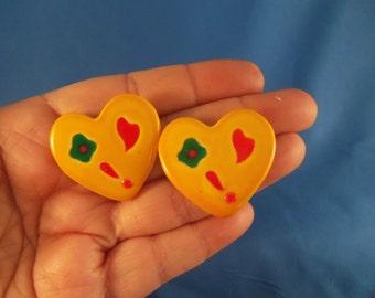 Large bright yellow Heart pierced earrings. (P40)