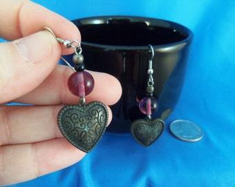 REDUCED Vintage Heart with a purple bead dangle pierced earrings. (P66)