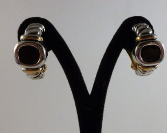 Gold and Silver toned black rhinestone center clip earrings (C88)