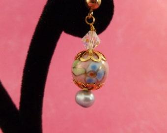 Flower beaded pastel piered earrings (P90)
