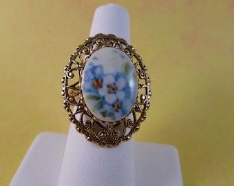 Vintage Blue flower ring (R19)