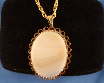 Large white stone necklace gold chain included (N68)