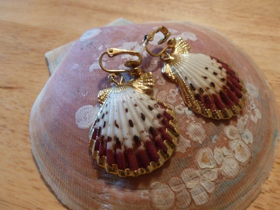 Gold and pink shell clip earrings.(C116)