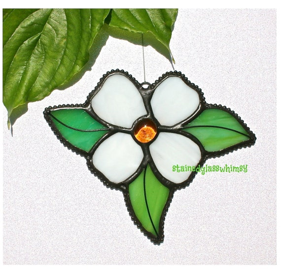 Stained Glass WHITE DOGWOOD Flower Suncatcher with Amber Glass Nugget, USA Handmade Original