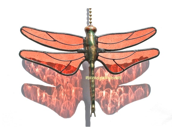 Stained Glass Dragonfly FAN PULL Suncatcher / Transparent Terra Cotta Wings / Proudly USA Handcrafted