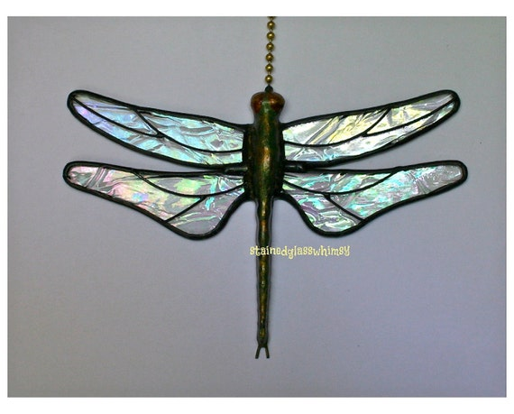 "Stained Glass Dragonfly FAN PULL Suncatcher - Clear Iridescent ""Krinkle"" Wings - Handcast Metal Body, Proudly USA Made"