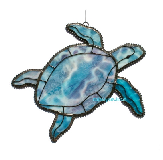 Stained Glass SEA TURTLE Suncatcher - Peacock Blue, Gold Pink, Dolphin Gray - Original Design, USA Handmade